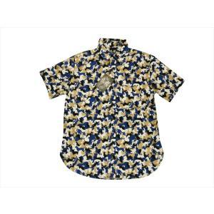 衣櫻・ころもざくら/半袖シャツ SA-1286 犬と猫柄カモフラージュ 和柄 半袖レギュラーシャツ  日本製 sa1286 ホワイト×ネイビー bros-clothing