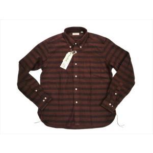 シュガーケーン・ライト SUGAR CANE Light 長袖シャツ SC27109 ツイルボーダー・長袖ボタンダウンシャツ ワイン|bros-clothing