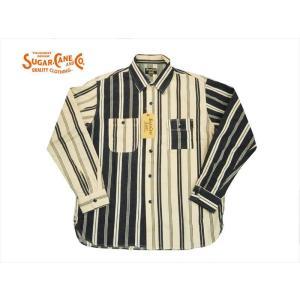 SUGAR CANE Light  シュガーケーン・ライト 長袖シャツ SC27822 ヒッコリーストライプ 長袖ワークシャツ クレイジー|bros-clothing