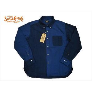シュガーケーン・ライト SUGAR CANE Light 長袖シャツ SC27826 インディゴ オックスフォード 長袖ボタンダウンシャツ クレイジー|bros-clothing