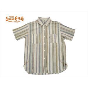 シュガーケーン ライト SUGAR CANE LIGHT 半袖シャツ SC37623 コットン/リネン トップボーダー半袖ワークシャツ クレイジー|bros-clothing