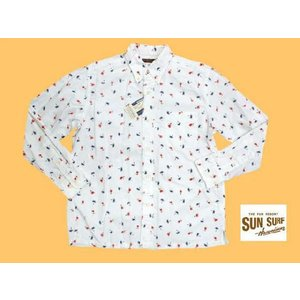 SUN SURF/サンサーフ SS24815 総柄『HULA DANCER/フラダンサー』オックスフォード・ボタンダウン長袖シャツ ホワイト|bros-clothing