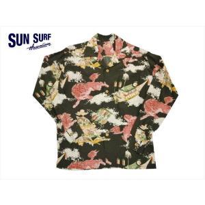 SUN SURF サンサーフ 長袖アロハシャツ SS27763 『ORIENTAL FESTIVAL』ハワイアン・レーヨン壁縮緬 長袖アロハシャツ ブラック|bros-clothing