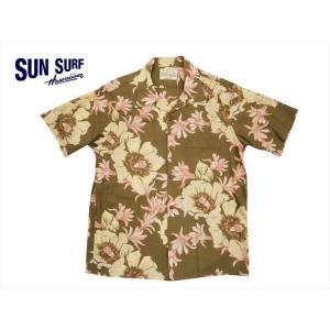 SUN SURF サンサーフ アロハシャツ SS37584 『NIGHT BLOOMING CEREUS』コットン&リネン 半袖アロハシャツ ブラック|bros-clothing