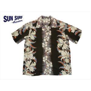 SUN SURF サンサーフ アロハシャツ SS37772 『CATTLEYA ORCHID』 レーヨン・半袖ハワイアンシャツ ブラック|bros-clothing