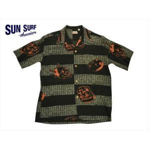 SUN SURF サンサーフ アロハシャツ SS37790 『NOH-MEN/能面』 レーヨン壁縮緬・半袖ハワイアンシャツ ブラック|bros-clothing
