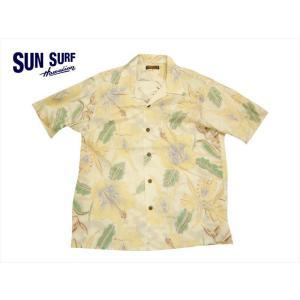 SUN SURF サンサーフ アロハシャツ SS37867 『CATTLEYA ORCHID』 スラブヤーン コットンリネン・半袖ハワイアンシャツ オフホワイト|bros-clothing