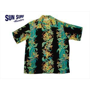 SUN SURF サンサーフ アロハシャツ SS38026 KAHILI GINGER  レーヨン・半袖ハワイアンシャツ ブラック|bros-clothing