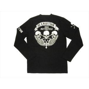Be Ambition/ビーアンビション 長袖Tシャツ T26203 PU&刺繍「スカル&ウイング」Vネック・ロングTシャツ ブラック|bros-clothing