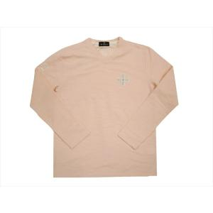Be Ambition/ビーアンビション 長袖Tシャツ T57102 クロスワッペン&ロゴ刺繍 Vネック・ロングTシャツ ピンク|bros-clothing
