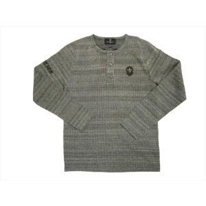 Be Ambition/ビーアンビション 長袖Tシャツ T57103 ユリワッペン&ロゴ刺繍 ヘンリーネック・ロングTシャツ ブラック|bros-clothing