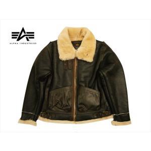 ALPHA INDUSTRIES/アルファ B-3 シープスキン レザージャケット/フライトジャケット TA1329 ブラウン|bros-clothing
