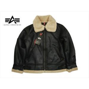 アルファ インダストリーズ/ALPHA INDUSTRIES フライトジャケット TA1398 B-3 フェイクムートン ジャケット ブラック|bros-clothing