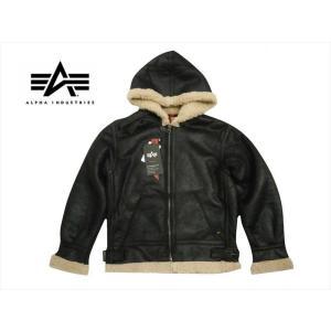 アルファ インダストリーズ/ALPHA INDUSTRIES フライトジャケット TA1399 B-3 フーデッド フェイクムートン ジャケット ブラック|bros-clothing
