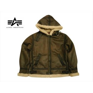 アルファ インダストリーズ/ALPHA INDUSTRIES フライトジャケット TA1399 B-3 フーデッド フェイクムートン ジャケット ブラウン|bros-clothing