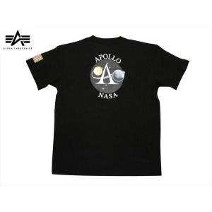 NASA×アルファ ALPHA INDUSTRIES 半袖Tシャツ TC1418「アポロ11」 ミリタリー半袖Tシャツ ブラック|bros-clothing