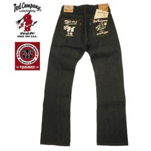 テッドマンTEDMAN×カミナリ/エフ商会 コラボ ジーンズ TDKBC-100 13.5oz ブーツカット・デニムパンツ ノンウォッシュ|bros-clothing