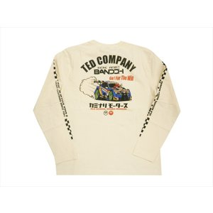 テッドマン TEDMAN×カミナリ×RACINGPROJECT BANDOH コラボ・長袖Tシャツ エフ商会 TDKMLT-90「レーシングカー」 抜染プリント・ロンT オフホワイト|bros-clothing