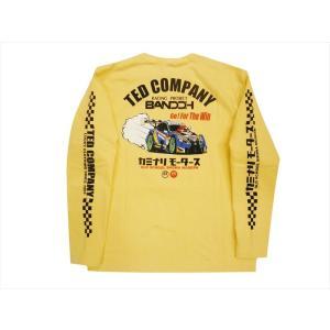 テッドマン TEDMAN×カミナリ×RACINGPROJECT BANDOH コラボ・長袖Tシャツ エフ商会 TDKMLT-90「レーシングカー」 抜染プリント・ロンT カスタード|bros-clothing