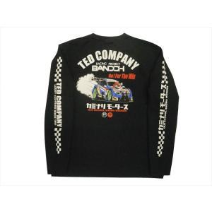 テッドマン TEDMAN×カミナリ×RACINGPROJECT BANDOH コラボ・長袖Tシャツ エフ商会 TDKMLT-90「レーシングカー」 抜染プリント・ロンT ブラック|bros-clothing
