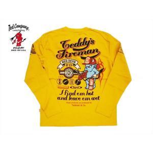 テッドマン TEDMAN/エフ商会×シグナル・コラボ 長袖Tシャツ TDLS-307 『FIRE FIGHTER/消防士』アメカジ・ロングTシャツ イエロー|bros-clothing