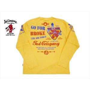 テッドマン TEDMAN/エフ商会 長袖Tシャツ TDLS-311 『7TH AIR FORCE』ミリタリー・ロングTシャツ カスタード|bros-clothing