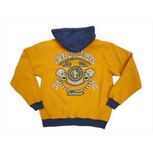テッドマン TEDMAN/エフ商会 TDSP-140 フルジップパーカー 刺繍「スカル&羽飾り&メディスンウィール」パーカー イエロー×ブルー|bros-clothing