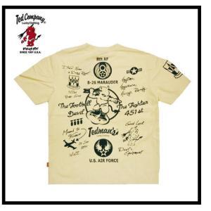 テッドマン TEDMAN/エフ商会 Tシャツ TDSS-439 『U.S. AIR FORCE/マーチンB26爆撃機』アメカジ・ミリタリー 半袖Tシャツ オフホワイト|bros-clothing
