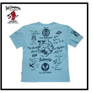 テッドマン TEDMAN/エフ商会 Tシャツ TDSS-439 『U.S. AIR FORCE/マーチンB26爆撃機』アメカジ・ミリタリー 半袖Tシャツ サックス|bros-clothing