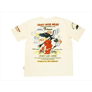 テッドマン TEDMAN/エフ商会 半袖Tシャツ TDSS-484 『CRAFT WHITH PRIDE/鷹&テッドマン』抜染プリント アメカジTシャツ オフホワイト|bros-clothing