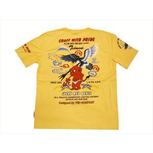 テッドマン TEDMAN/エフ商会 半袖Tシャツ TDSS-484 『CRAFT WHITH PRIDE/鷹&テッドマン』抜染プリント アメカジTシャツ カスタード|bros-clothing