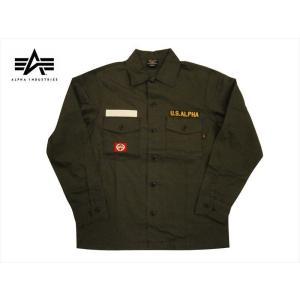 ALPHA アルファ ミリタリー長袖シャツ TS5090 パッチド ユーティリティーシャツ ブラック|bros-clothing