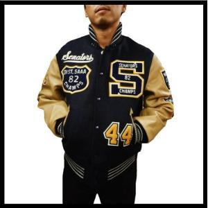 WHITESVILLE ホワイツビル スタジャン WV13365 WOOL MELTON『FOOTBALL/フットボール』フルデコレーション・袖革スタジャン ネイビー|bros-clothing