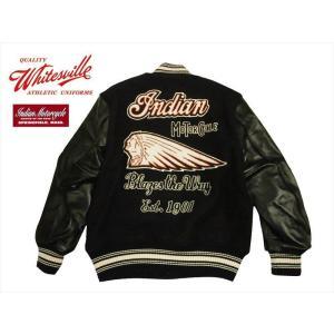 WHITESVILLE ホワイツビル×インディアンモーターサイクル コラボ WV13984 「INDIAN MOTORCYCLE」30oz. ウールメルトン 袖革スタジャン ブラック|bros-clothing