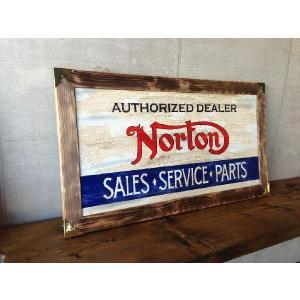 VINTAGE SIGN (Norton) ビンテージウッドサイン 木製看板 ノートン brown-online