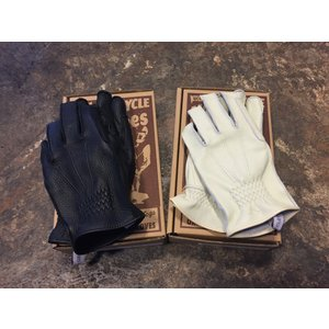 〈UNCROWD〉 DEER SKIN GLOVES BLACK/IVORY アンクラウド ディアスキン グローブ モーターサイクルグローブ|brown-online