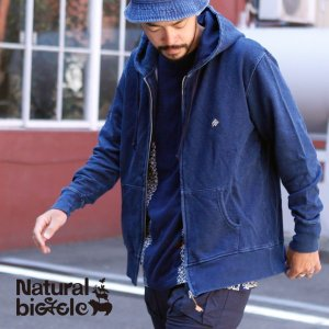 ナチュラルバイシクル Naturalbicycle EZONOHA indigo sweat zip parka|brownfloor