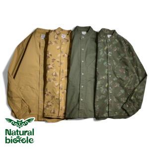 """ナチュラルバイシクル Naturalbicycle NB CAMO """"BAND COLLAR SHIRT"""" brownfloor"""