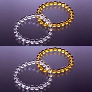 白・黄水晶ブレスレット×2セット(送料・代引手数料サービス)|brtk