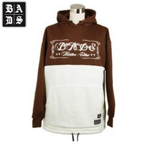 16-17 BADS パーカー 2TONE HOOD ba2307: Brown White 正規品/スノーボードウエア/badass/バダス/バッズ/メンズ/ビッグサイズ/キングサイズ|brv-2nd-brand