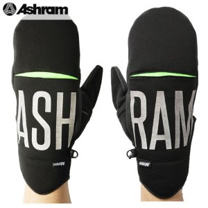 17-18 ASHRAM グローブ GAMBINO: BLACK 正規品/アシュラム/メンズ/gambino/スノーボード/ミトン/ミット/snow|brv-2nd-brand
