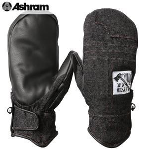 18-19 ASHRAM グローブ BRONSON MITT : Black Denim 正規品/アシュラム/メンズ/ブロンソン/スノーボード/ミトン/ミット/snow|brv-2nd-brand