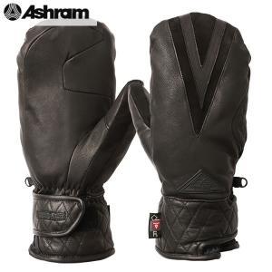 18-19 ASHRAM グローブ ECWGS LEATHER MITT : Black 正規品/アシュラム/メンズ/スノーボード/ミトン/ミット/snow/スノボ|brv-2nd-brand