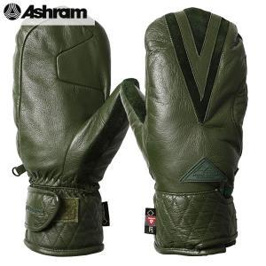 18-19 ASHRAM グローブ ECWGS LEATHER MITT : Olive 正規品/アシュラム/メンズ/スノーボード/ミトン/ミット/snow/スノボ|brv-2nd-brand