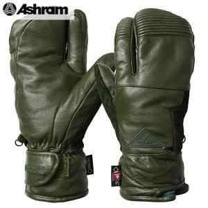 18-19 ASHRAM グローブ ECWGS LEATHER TRIG. : Olive 正規品/アシュラム/メンズ/スノーボード/トリガーミトン/ミット/snow/スノボ|brv-2nd-brand