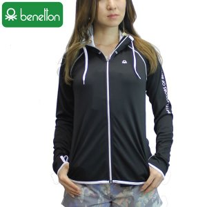 18SS レディース 大きいサイズ BENETTON ラッシュガード 227-850-0: bk 正規品/ベネトン/227850-0/長袖/surf|brv-2nd-brand