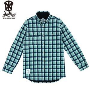 17-18 ANTHEM ボンデッドシャツ BONDED CHECK SHIRT an1765: Blue Gray Check 正規品/メンズ/レディース/スノーボードウエア/ウェア/アンセム/snow|brv-2nd-brand