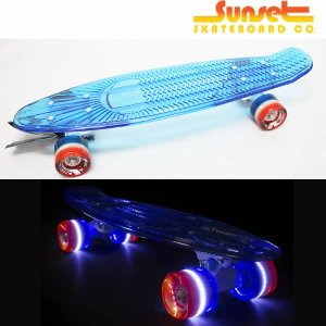 SUNSET SKATEBOARD スケートボード merica 22 inch: 3layer Red/White/Blue Wheels 正規品/サンセットスケートボード/クルーザー/stree|brv-2nd-brand