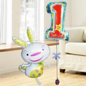 バルーン電報 誕生日 送料無料 誕生日 1才 ホワイトバニースターセット 人気のバルーンギフト|bs-olive