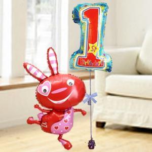 バルーン電報 送料無料 誕生日 1才 レッドバニー&ドットバースデーセット 人気のバルーンギフト|bs-olive